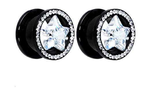 Jewels Fashion Surgical steel Gauges Black Star shaped stone W/Clear stones (6MM) ()