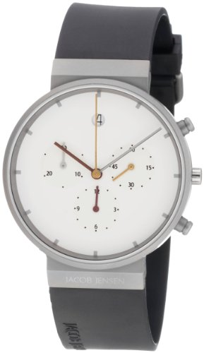 Jacob Jensen 601 Chronograph Series Titanium Case Leather Band White Dial Men's Watch