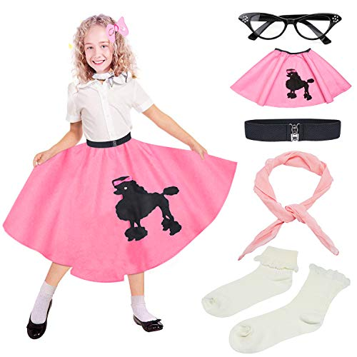 Beelittle 50s Girls Costume Accessories Set - Vintage Felt Poodle Skirt, Chiffon Scarf, Cat Eye Glasses, Bobby Socks (Pink)]()