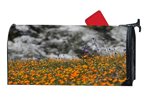 Flowers Meadow Mailbox Covers Magnetic Mailbox Wraps Post Letter Box Cover Standard Size 6.5 x 19 Inch