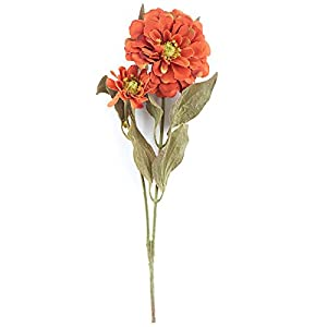 Factory Direct Craft Group of 10 Artificial Rustic Orange Colored Zinnia Floral Sprays for Crafting, Creating and Embellishing 90