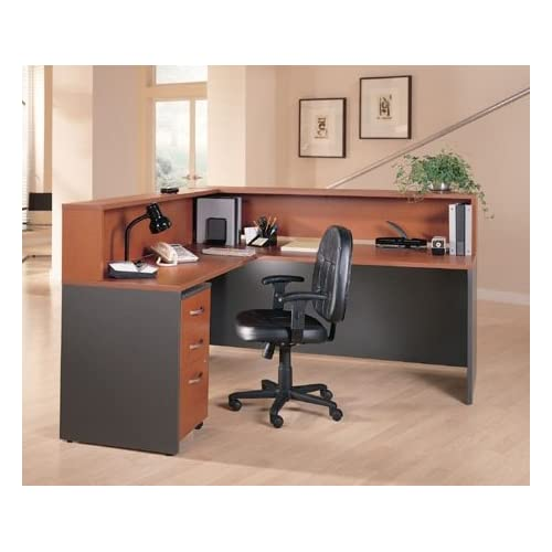 "Bush L Shaped Reception Desk 6"" 5"" X 5"" 11"" Height: 44"" Features A Transaction Shelf, A Mobile Desk Drawer, Sturdy 1"" Thick Surfaces & Grommets For Wire Management - Auburn Maple / Gray"