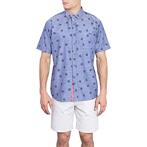 Hawaiian Shirt For Men | Mens Short Sleeve Button Up Oxford Chambray Shirts-5XL-Blue Floral - Island Company Blue Oxford