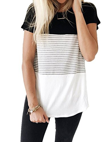 MOLERANI Short Sleeve Round Neck Triple Color Block Stripe T-Shirt Casual Blouse