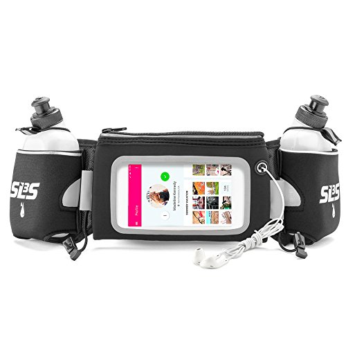 Hydration Running Belt | Waist Pack Deluxe for Runners With Touchscreen And 2 Bottles | fits iPhone 6 Plus | German Designed