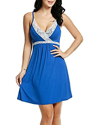 Hotouch Womens Sleepwear Nightgown Full Slips Lace Sling Dress S-XXL