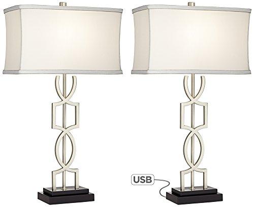 Evan Modern Metal USB Table Lamps Set of 2