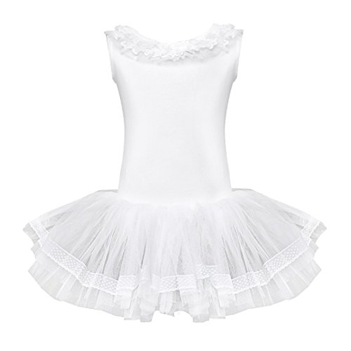 FEESHOW Child Girls Ballet Dance Leotard Tutu Dress Party Dancewear Costumes Size 3-4 White