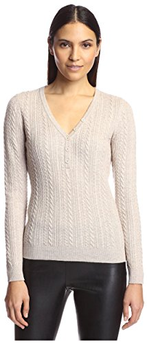 Cable Henley Sweater - SOCIETY NEW YORK Women's Cable Henley Sweater, Oatmeal, M