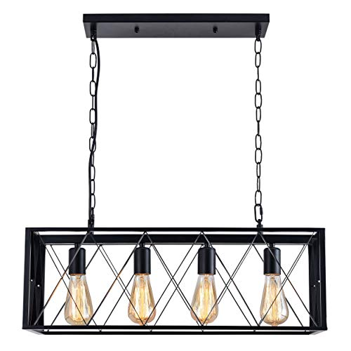 ISRAMP Industrial 4-Light Kitchen Island Pendant Light, Rectangle Iron Matte Black Shade Ceiling Hanging Lighting Fixtures with 4 Middle Base E26 Sockets, Modern Farmhouse Chandelier