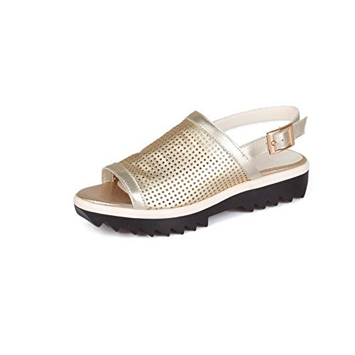 Gold AllhqFashion Womens Solid Sandals Pull Heels Low On Toe Open qZw1pqz