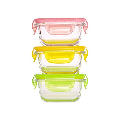Mini Glass Baby Food Storage Containers - Food Prep Containers with Locking Lids BPA Free - Food Storage Containers Airtight -Meal Prep Container(5.08oz,0.64cup,Square) ()