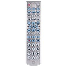 GE Big Button Backlit Universal Remote Control for Samsung, Vizio, Lg, Sony, Sharp, Roku, Apple TV, RCA, Panasonic, Smart TVs, Streaming Players, Blu-Ray, DVD, 6-Device, Silver, 33712