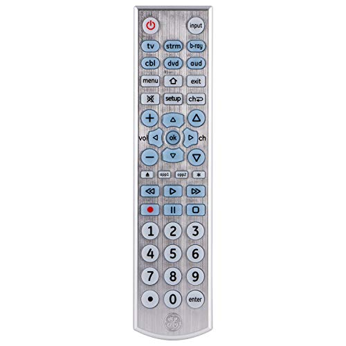 GE 6 Device Universal Remote, Backlit, Big Button, Works with Smart TVs, LG, Vizio, Sony, Blu Ray, DVD, DVR, Roku, Apple TV, Streaming Players, Auto Scan, Pre-Programmed for Samsung TVs, Silver, 33712