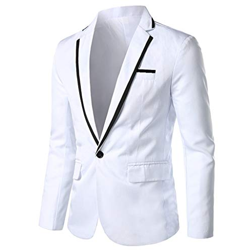 TIFENNY Men's Stylish Suit Casual Solid Lapel Blazer Business Wedding Party Outwear Coat Suit Tops One Button