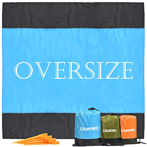 Cevapro Sand Free Beach Blanket, Ultra Size Picnic Blanket for 5-7 Adults Fast Drying Waterproof Pocket Beach Mat for Outdoor Beach, Travel, Music Festival, Camping, Hiking Blanket - 4 Ground Stake (Beach Blanket With Stakes)