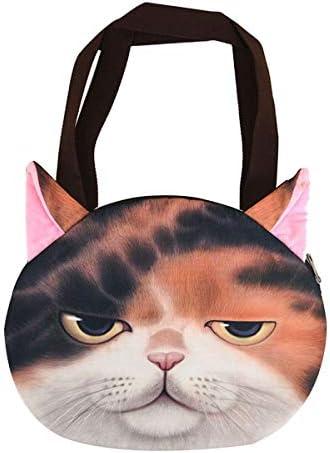 کیف شانه زنانه کیسه شانه خوب زیپ کیسه متقابل بدن با چاپ سر گربه حیوانات ناز