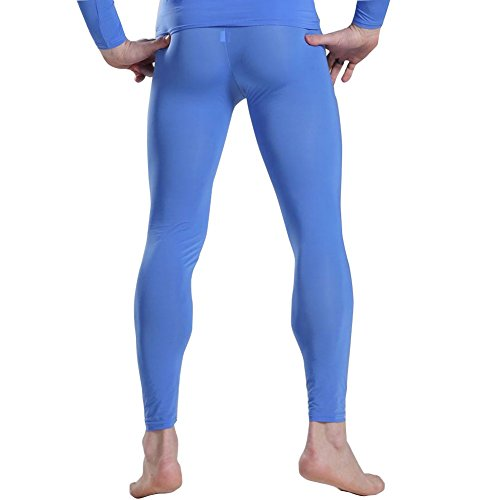 iiniim Mens Thin Ice Silk Compression Baselayer Thermal Long Johns Underwear Blue -