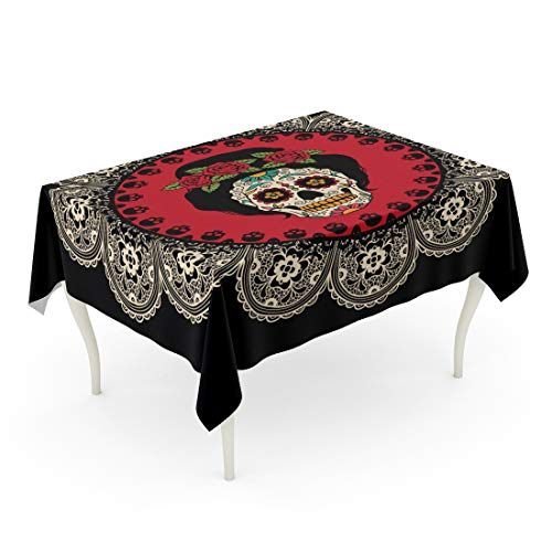 Semtomn Decorative Tablecloth Waterproof Printed Polyester Oil-Proof Yellow Day with Mexican Skull Girl Dead Tattoo Catrina Sugar Lace Comic Woman Rectangle Table Cloth 60 x 90 Inch