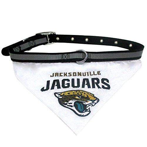 Jacksonville Jaguars Dog Collar - NFL BANDANA - JACKSONVILLE JAGUARS PET BANDANA with Reflective & Adjustable PET COLLAR, Small