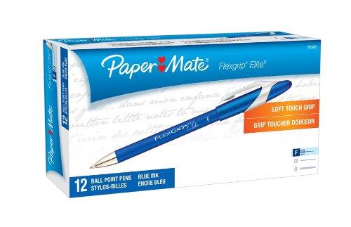 Flexgrip Elite Stick - Paper Mate 85588 Flexgrip Elite Stick Ballpoint Pens, Fine Point, Blue, 12-Pack