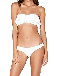 Womens Plain Ruffled Pull On Bandeau Top Low Rise Thong Bathing Suits 2pc Set