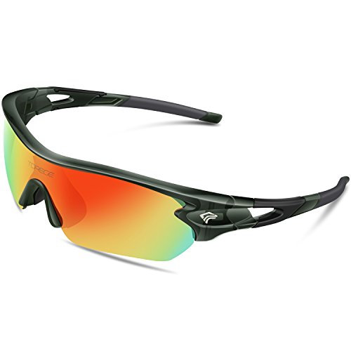 Torege Polarized Sports Sunglasses With 5 Interchangeable Lenes for Men Women Cycling Running Driving Fishing Golf Baseball Glasses TR002 (Transparent Gray&Rainbow - Bike Sunglass