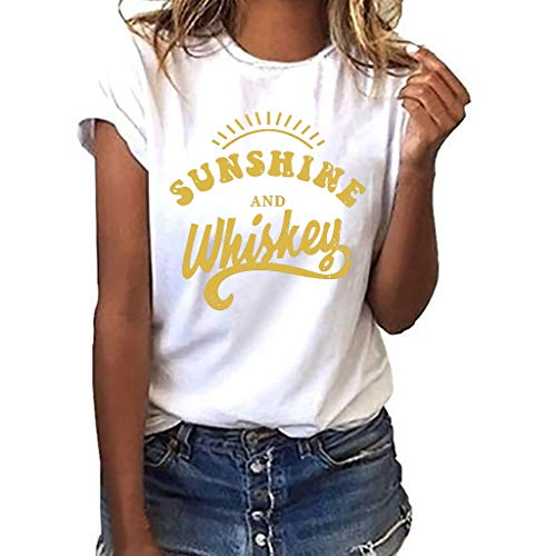 - Women T-Shirt Casual Summer Short Sleeve Tee Letter Print Loose Blouse Tops (S, White)