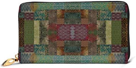 錆と青緑のボヘミアンパッチワーク 本革長財布 ファスナー財布 おしゃれ 大容量 男女共用高級おしゃれなジップレザーウォレットロングハンドバッグ