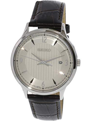Seiko SGEH83P1 Men's Classic Cream Dial Brown Leather Strap Watch