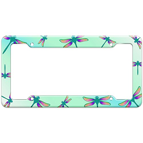 (Graphics and More Blank Dragonfly Blue Teal Pattern License Plate Frame)