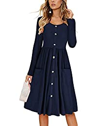 Women Dresses Casual Solid Soft Long Sleeve T Shirt Dress Slim Fit Button Down Swing Midi Dress with Pockets