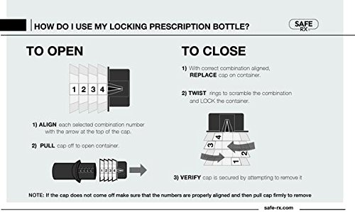 Safe Rx Locking Pill Bottle - Fixed Combination Lock - Child Resistant, Tamper Evident, Senior Friendly (Large, Amber) by Safe Rx (Image #3)