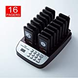 PagingPro P100 Restaurant Pager System with 16 pcs Coaster Pagers and 1 pc Keypad Call Button Extensible Wireless Queue Calling System for Food Court Church Clinic Shop Cafe