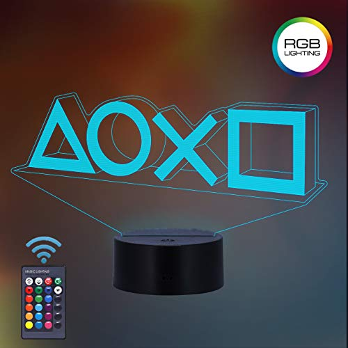 Game Player Gift 3D Night Light 16 Multicolors Changing Night Lamp for Kids with Remote Control, Game Room Decor Gifts from Boys Men Women