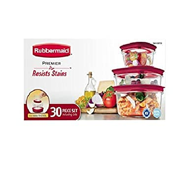 Rubbermaid Premier - 30 Piece Set - BPA Free - Resists Stains and Red Easy-Find-Lids, 2014 Newest RED Lids version