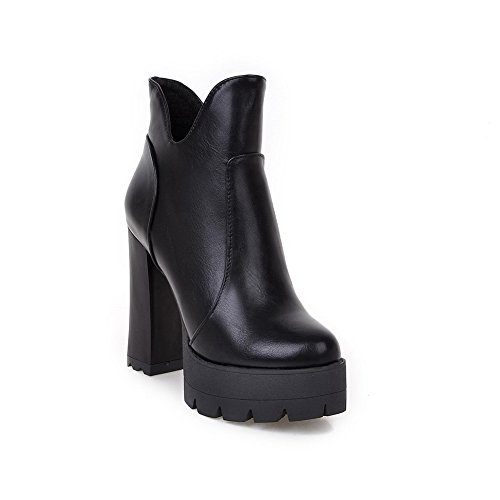 BalaMasa Platform Leather Heels Boots Chunky Girls Imitated Black Zipper rOHwZr5q