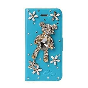 TY-DIY del oso y las flores con el patrón del Rhinestone completo estuche de cuero de cuerpo con el soporte para iPhone 5/5S , Azul