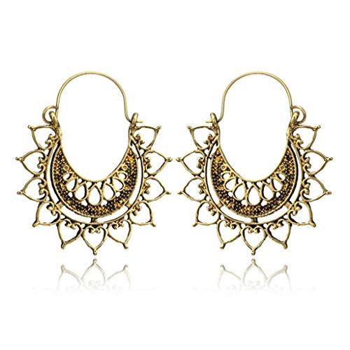 FashionDG Fine Texture Hot Geometric Spider Web Pendant Drop Earrings Bohemian Hollow Flower Earring for Women Dangle Earring Jewelry Accessories ()