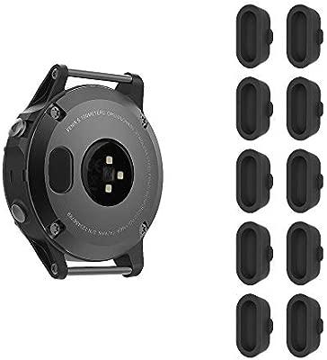 Fintie 10 Piezas Tapón a Prueba de Polvo para Garmin Fenix 5 / 5S / 5X / Plus - Protector de Silicona para Puerto del Cargador de Smartwatch Reloj