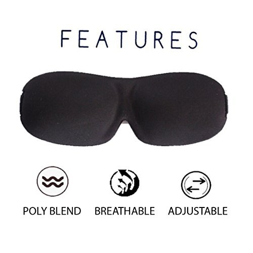 At Ease Sleep Mask Contours To Fit Your Face| Comfortable & Super Soft Eye Mask! | Adjustable Strap | Works With Every Nap Position | Ultimate Sleeping Aid | Blocks Light & No Noise Earplugs!