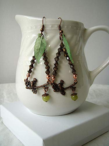 - Beaded Woodland Copper Finish Squirrel Earrings