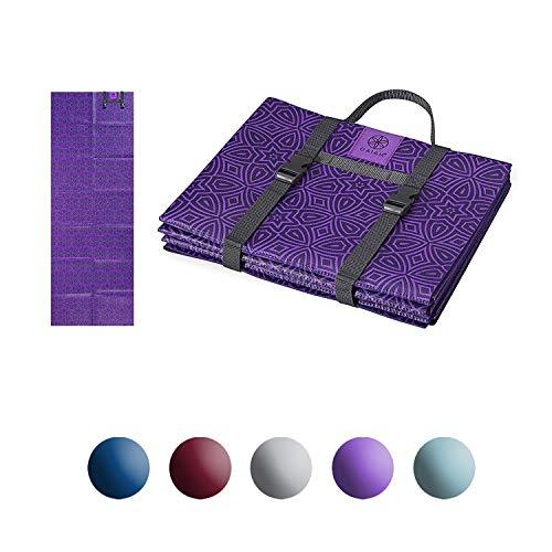 Gaiam Foldable Yoga Mat, Grape Mandala, ()