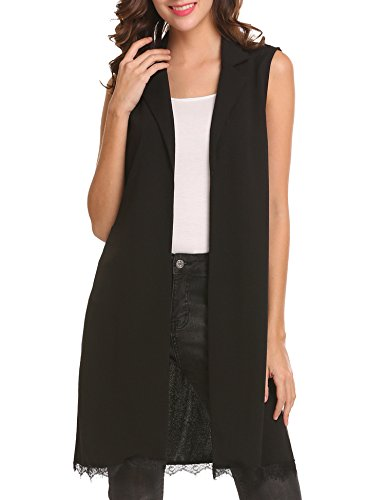 Zeagoo Women Elegant Open Front Long Vest Sleeveless Lace Patchwork Chiffon Blazer Black Medium