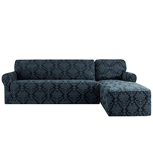 CHUN YI 2 Pieces Elegant Jacquard Polyester L Shape Sectional Sofa Cover Stretch Fabric L-Shaped Sectional Couch Covers Dust-Proof Sofa Slipcover Furniture Protector (Right Chaise, Grayish Green)