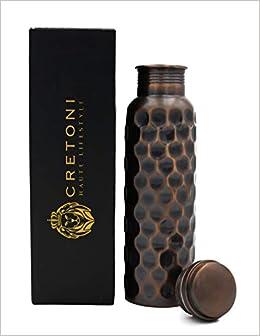 341d58b986810 Cretoni Antique-Series Pure Copper Water Bottle : Honeycomb Straight Leak  Proof Design : Perfect Ayurvedic Copper Vessel for Sports, Fitness, Yoga,  ...
