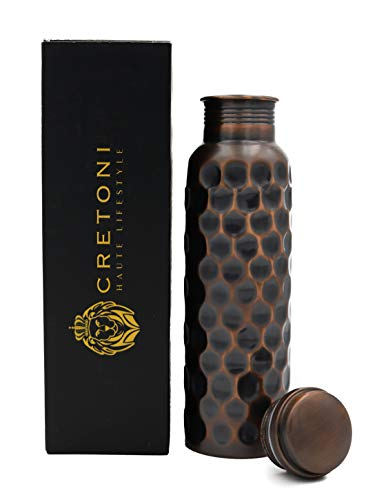 - CRETONI Antique-Series Pure Copper Water Bottle : Honeycomb Straight Leak Proof Design : Perfect Ayurvedic Copper Vessel for Sports, Fitness, Yoga, Natural Health Benefits (900 Milliliter/30 Ounce)