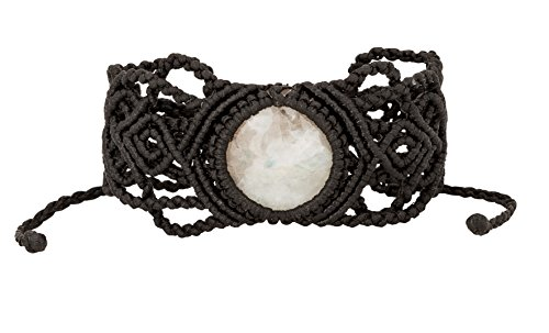 Boho White Crystal Moonstone with Black Macrame Adjustable Bracelet for Women | SPUNKYsoul Collection