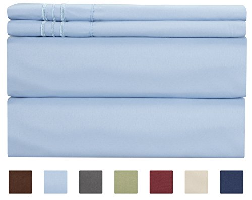 Queen Size Sheet Set - 4 Piece - Hotel Luxury Bed Sheets - Extra Soft - Deep Pockets - Easy Fit - Breathable & Cooling - Wrinkle Free - Comfy  Light Blue Bed Sheets  Queens Baby Blue 4 PC
