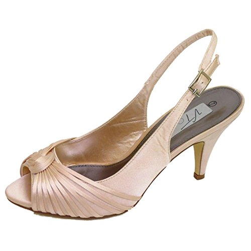 Womens Pale Gold Satin Bridal Bride Ladies Bridesmaid Wedding Court Shoes Sizes 3-7 rjGKuycFK